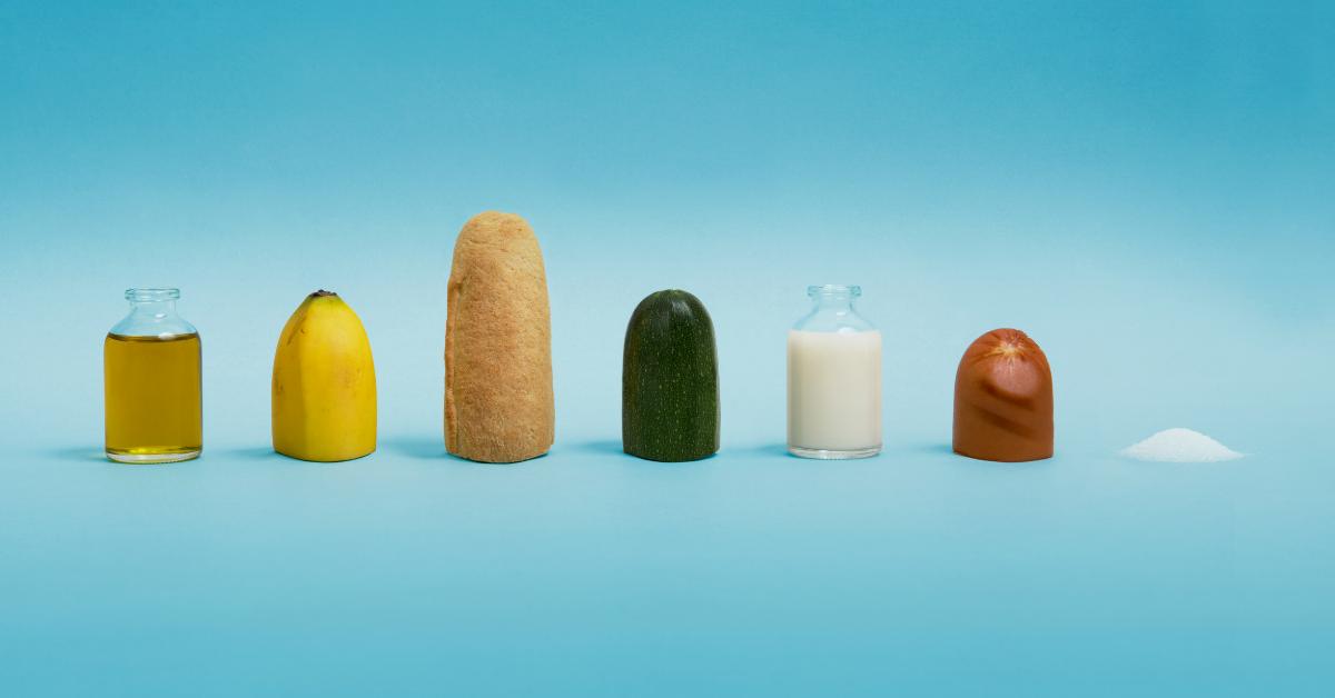 Foods representing various food groups