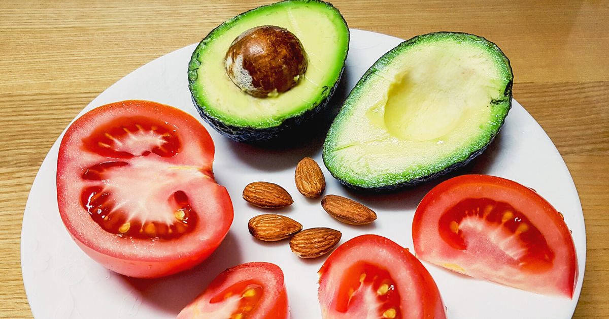 Avocado, tomato, and almonds