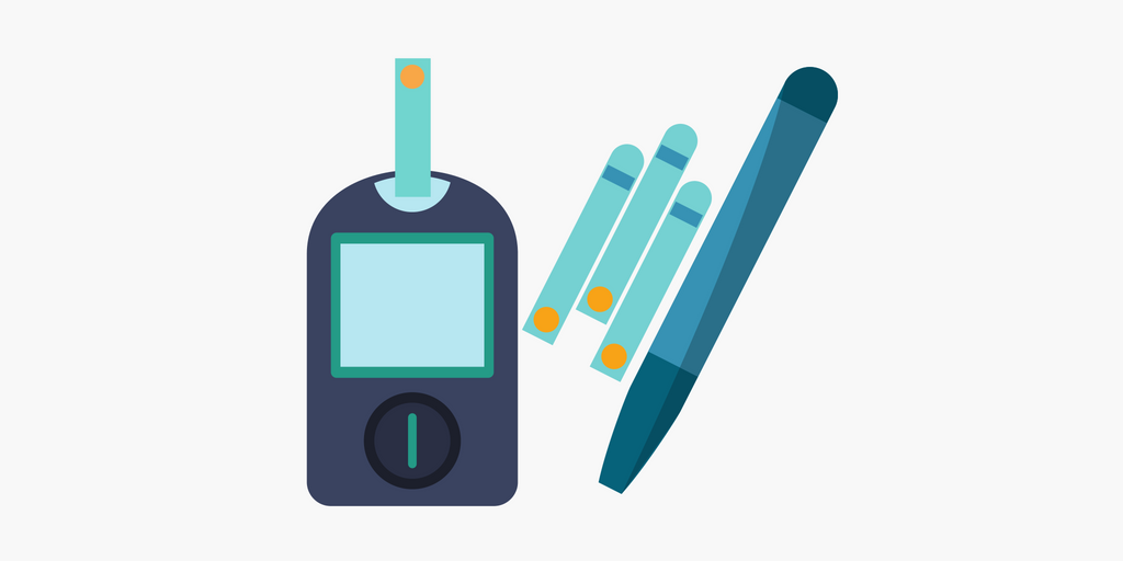 Illustrated glucose meter, test strips, and lancing device