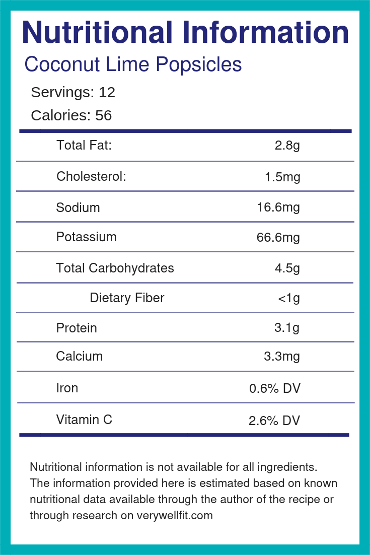 Coconut Lime Popsicles Nutritional Info