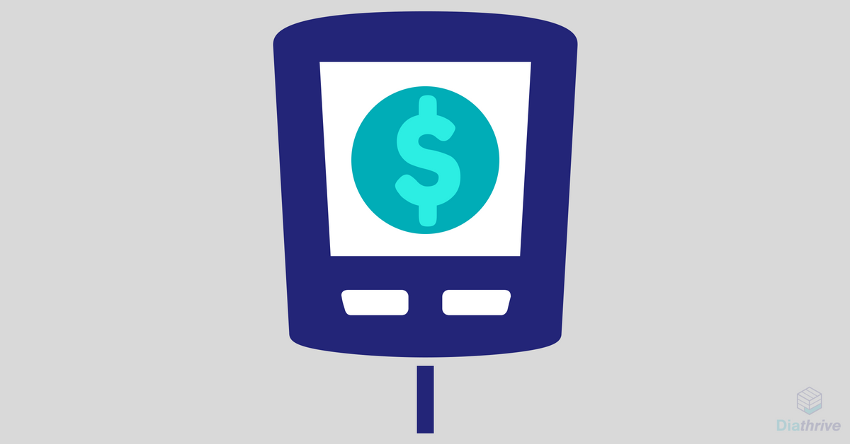 Blood glucose meter illustration with dollar sign on the screen