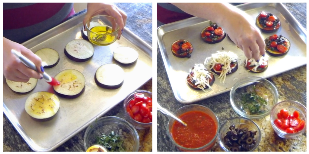 Mini Eggplant Pizzas - olive oil and toppings
