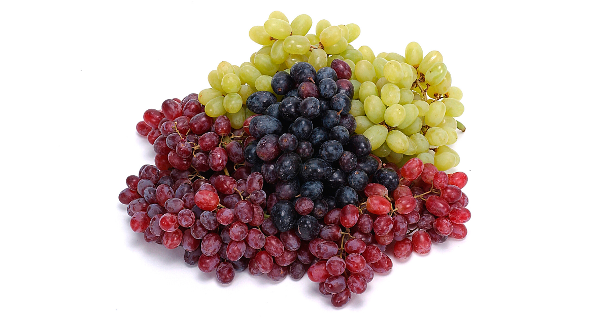Three types of grapes piled together